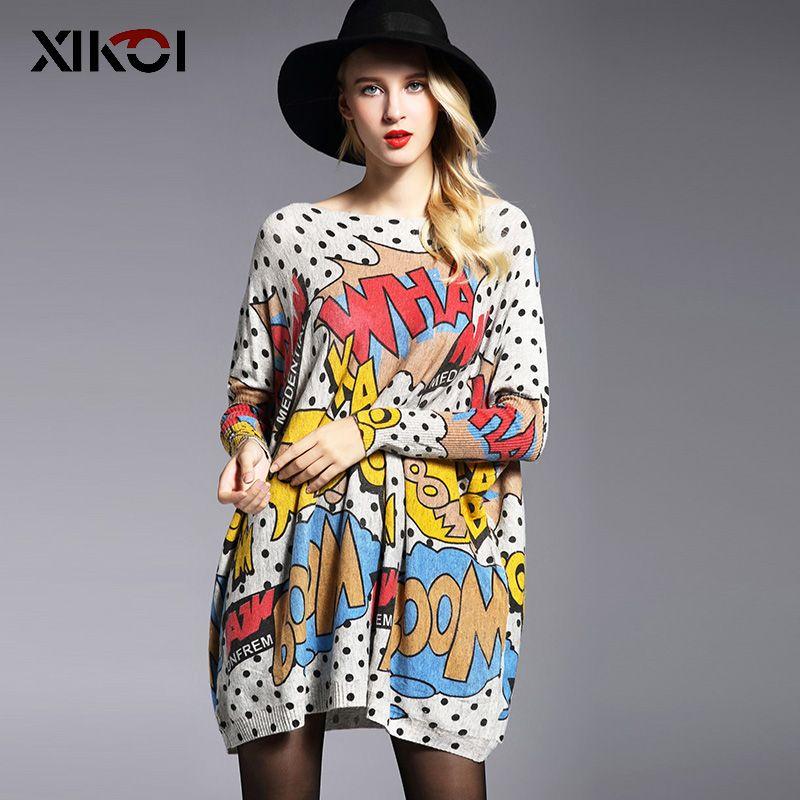 XIKOI Oversize Femmes Chandail Occasionnel Doux Pull De Mode Manches Chauve-Souris De Point de Vague Impression Slash Cou Tricoté Pulls Taille Libre