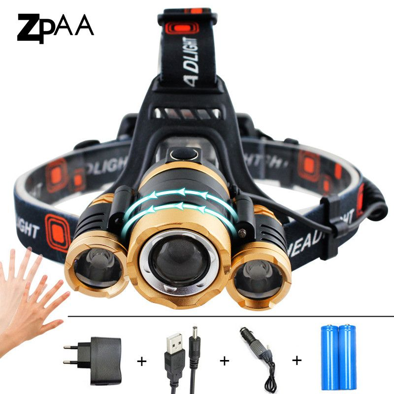 ZPAA LED Headlamp 12000Lm xm-T6 Led Head Flashlight Torch Sensor Outdoor Rechargeable Head Light Forehead Lamp for Fishing Camp