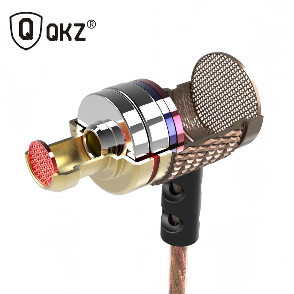 QKZ DM6 HD HiFi Écouteur Haute Sensibilité fone de ouvido Édition Spéciale Or Plaqué Logement Double Pilotes Isolation Du Bruit
