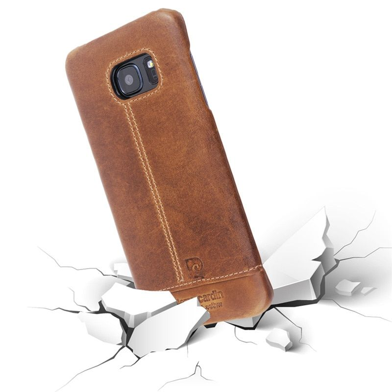 Luxury Pierre Cardin for Samsung Galaxy S7 S7 edge Authentic Genuine Leather Vintage Cover Case for Galaxy S7 Edge hard Case