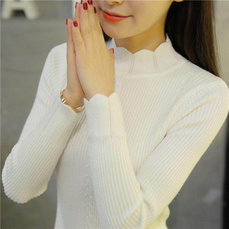 OHCLOTHING 2017new Korean slim dress lace knitted sweater semi Turtleneck