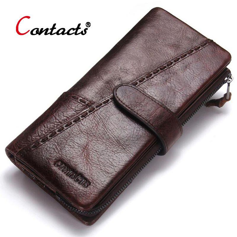 CONTACT'S portefeuille en cuir véritable hommes porte-monnaie homme embrayage porte-carte de crédit porte-monnaie Walet sac d'argent organisateur portefeuille Long