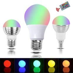 E27 E14 RGB LED Ampoule Lampe 3 W 5 W 10 W Couleur Magique Spot Light Télécommande Dimmable 24key de Vacances LED Night Light 110 V 220 V