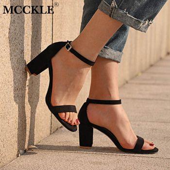 MCCKLE Chunky Talon Femmes Boucle Cheville Gladiateur Sandales Femmes D'été de Chaussures De Mode Femme Sandilas Couverture Talon Troupeau Parti Chaussures
