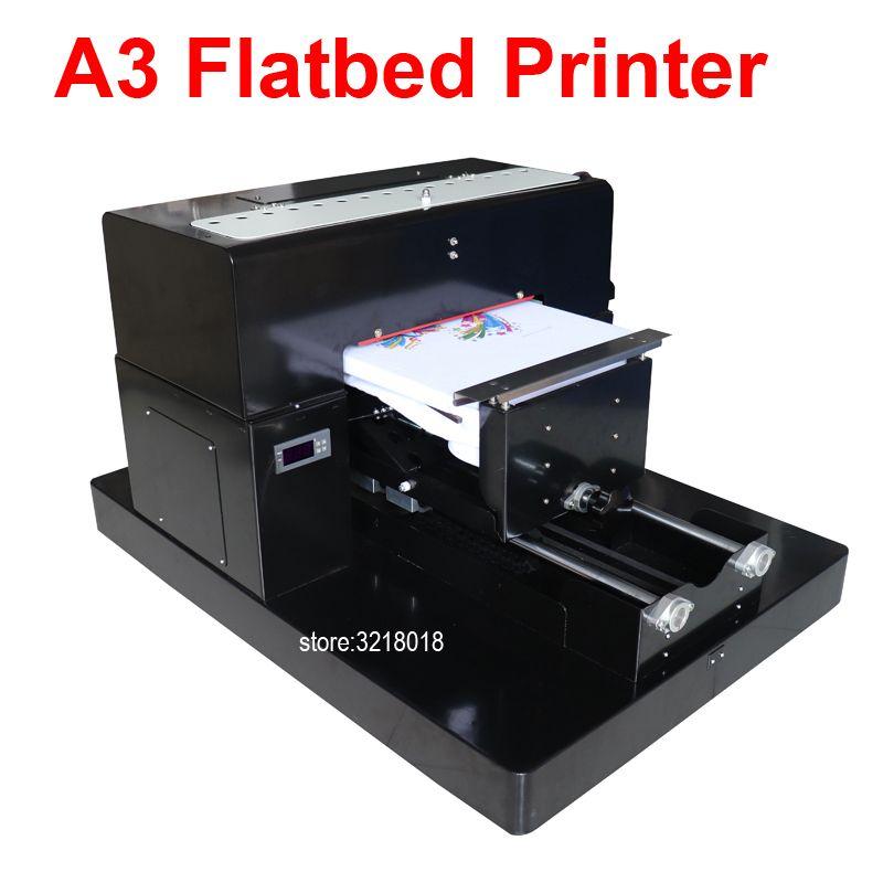 Multicolor A3 Größe DTG Digitalen Kleidungsstück Drucker Direkt zu Drucken Dark Light Farbe Flachbettdrucker für T-shirt Kleidung Telefon fall