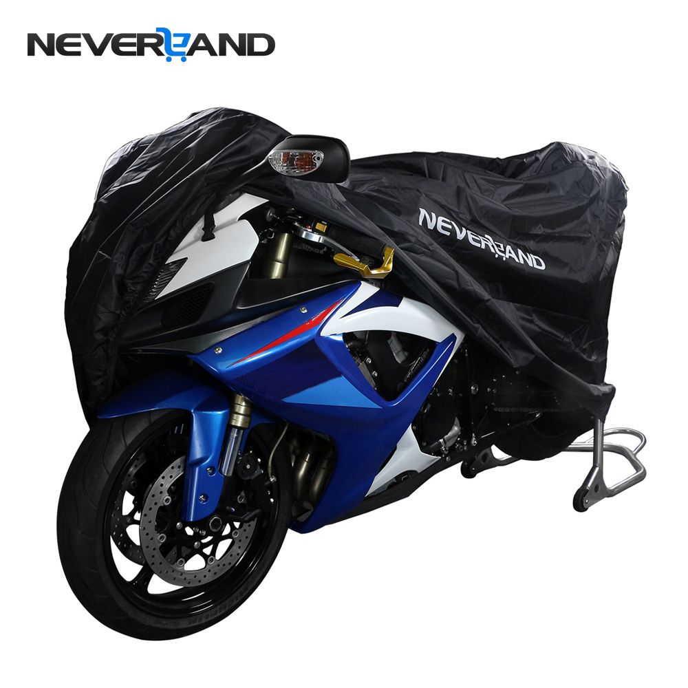 NEVERLAND Polyester Taffeta Black Bike <font><b>Motorcycle</b></font> Covers L Dust Waterproof Outdoor Rain UV Protector Motorbike UV Cover