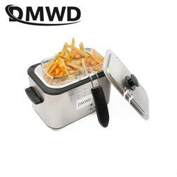 DMWD 1.2L Stainless Steel Single tank Electric deep fryer smokeless French Fries Chicken grill multifunction MINI hotpot oven EU