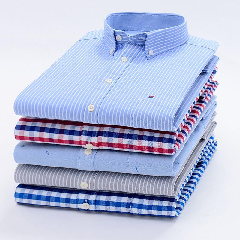 Hommes dessus de chemise chemise à carreaux chemise rayée Oxford décontracté hommes chemises à manches longues Slim Fit Camisa Social 5XL 6XL grande taille