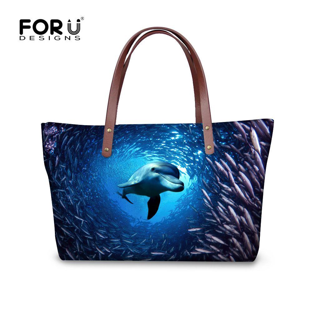 fashionable brand women handbags designer shoulder bag dolphin shark print female tote bags ladies high quality shopping bags