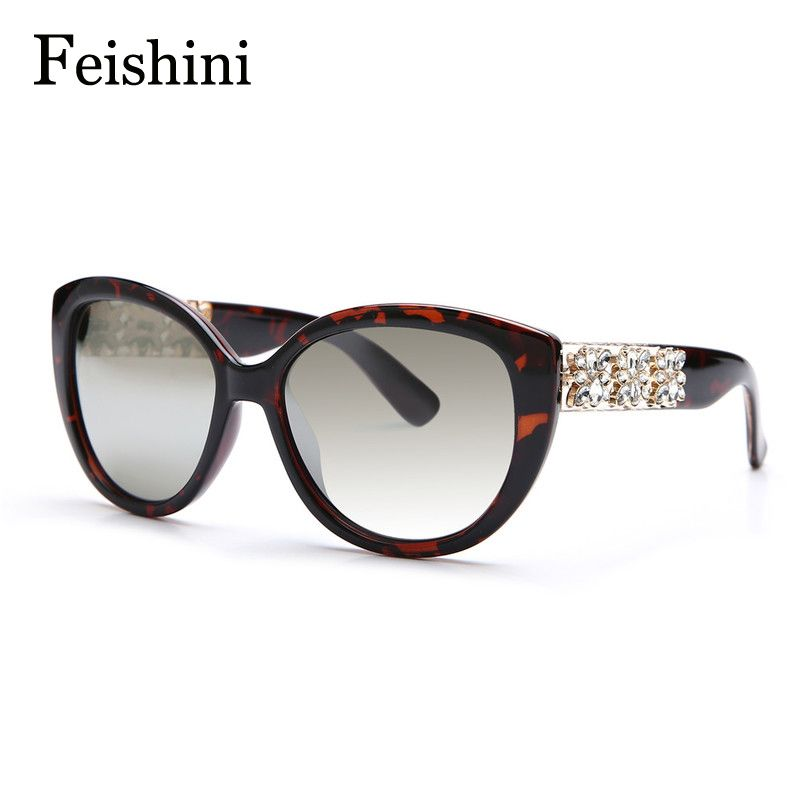 FEISHINI Latest European Popular Of Artificial Crystal Embellishment Plastic HD luxury brands Sunglasses Women Cat eye Vintage