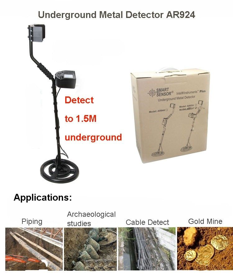 Smart Sensor AR924+ underground metal detector for gold digger treasure hunter finder with Rechargeable battery AR924
