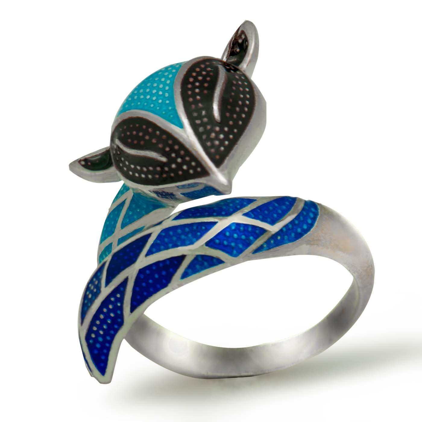 2017 Nuevo azul Fox esmalte sólido 925 tamaño abierto anillo ajustable