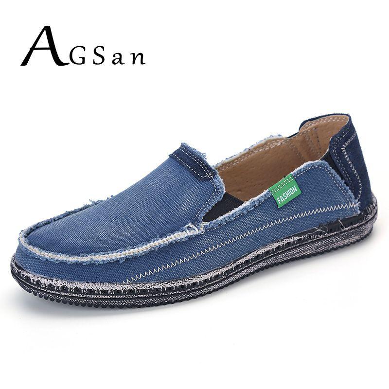 AGSan classique toile chaussures hommes paresseux chaussures bleu gris toile mocassins hommes sans lacet mocassins lavé denim décontracté appartements grande taille 46
