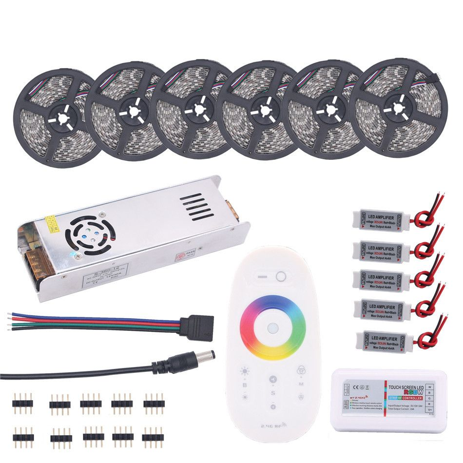 BEILAI 5050 RGB LED Strip Waterproof 5M 10M 15M 20M 30M DC 12V RGBW RGBWW LED Light Strips 60led add Controller Power Amplifier