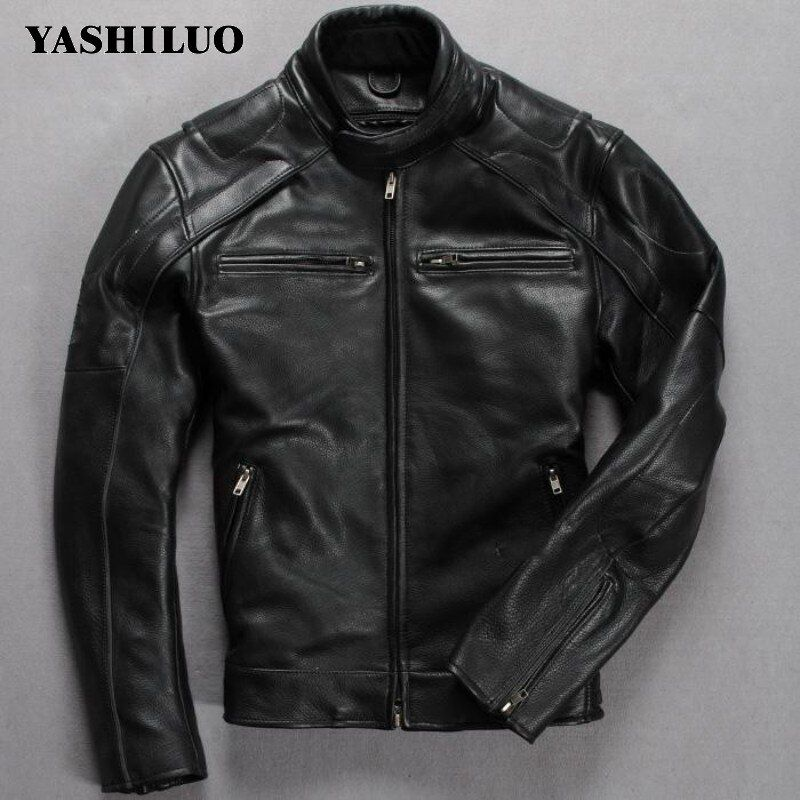 Free Shipping New Men's 2018 Top Skulls Genuine Leather Motorcycle Suit First Layer Of Cowhide Motorcycle Jacket Special