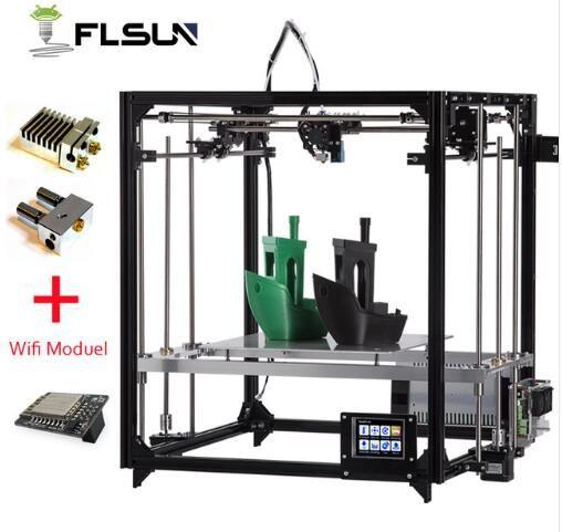 2019 nouvelle imprimante 3d Cube Kit grande taille d'impression cadre en métal double extrudeuse imprimante 3D Wifi Auto niveau un rouleaux Filament carte SD