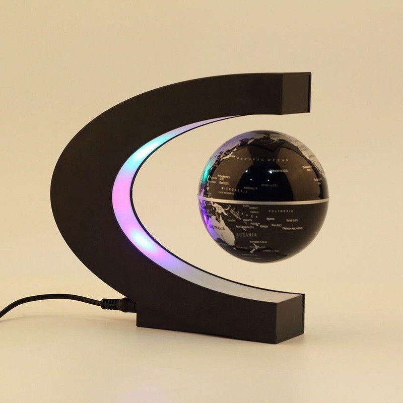 C Forma Tellurion LED Flotante de la Levitación Magnética Flotante Globo Del Mundo Mapa de Luz LED que Flota Mundial Mapa Home Dormitorio Decoración