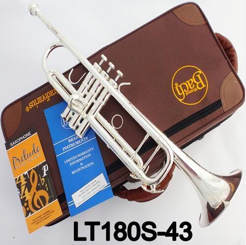 Fabrik Outlet Bach Stradivarius Professionelle Bb Trompete LT180S-43 Silber Überzogene Instrumentos Musicales Profesionales Mundstück