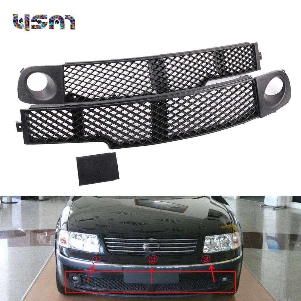3Pcs Set Front Fog Light Lamp Bumper Grille Left Middle Right Trim Cover Cap For VW 1998 1999 2000 Passat B5 3BD853676 3BD853677