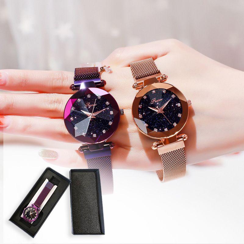 Marque de luxe dames montre magnétique étoile ciel diamant cadran femmes Bracelet montres magnétique en acier inoxydable maille montres horloge
