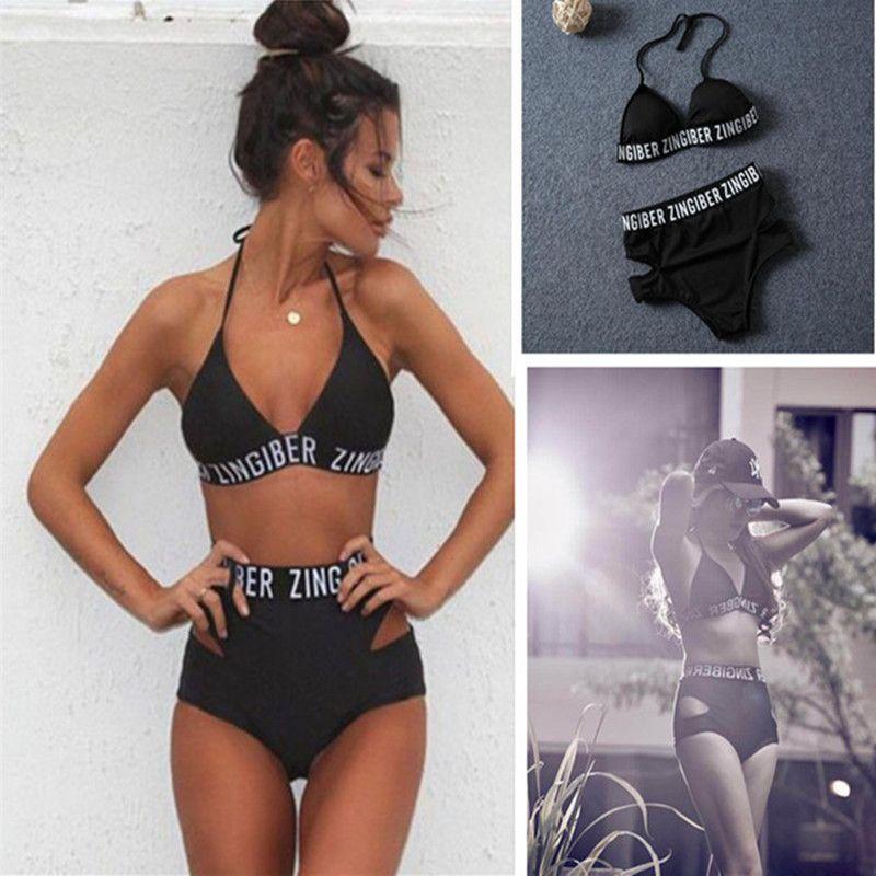 Zingiber lettrage taille haute élastique bikini doux amovible soutien-gorge pad maillots de bain noir bandage imprimer lettre sexy maillot de bain body