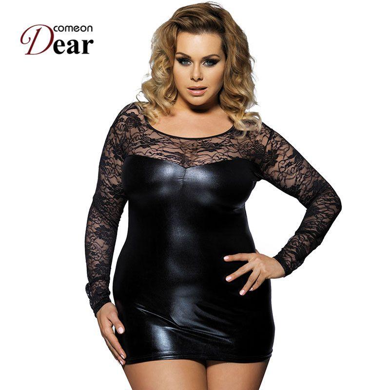 Comédie 2018 nouvellement chaude dentelle noire grande taille Faux cuir sexe Lingerie robe Sexy Costumes érotique Lingerie nuisettes RJ7393
