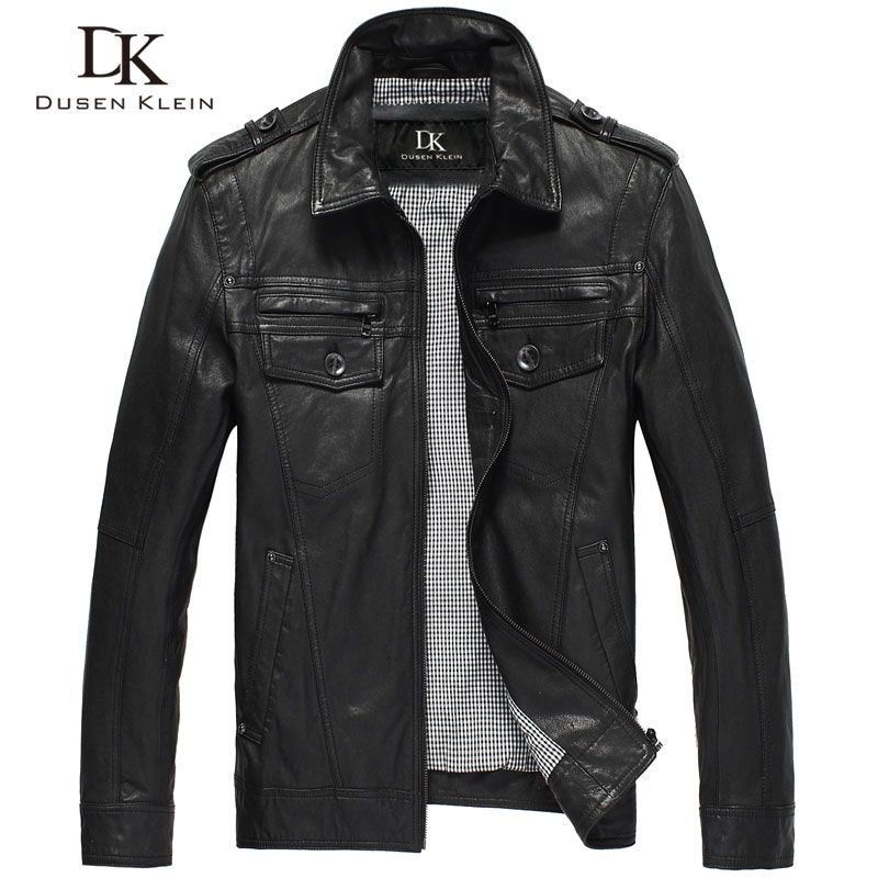 Dusen Klein leather jackets men Genuine sheepskin slim Designer spring Black leather clothing DK056