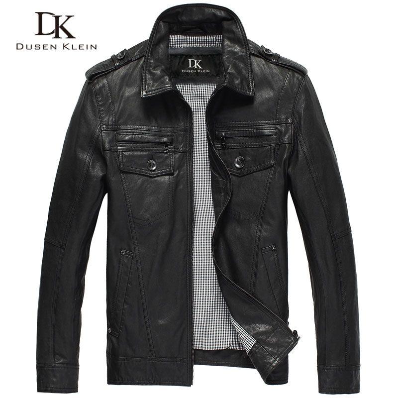 Dusen Klein leather jackets men Genuine sheepskin slim Designer spring Black leather clothing DK056