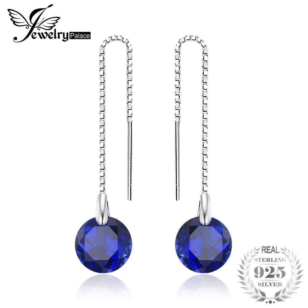 JewelryPalace 5.6ct Round Created Sapphire Threader Earrings 100% 925 Sterling Silver Charms Fine Jewelry For Women  Fashion