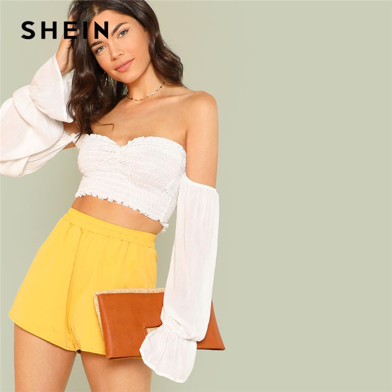 SHEIN White Vacation Bohemian Beach Flounce Sleeve Shirred Crop Bardot Off The Shoulder Blouse Summer Women Casual Shirt Top