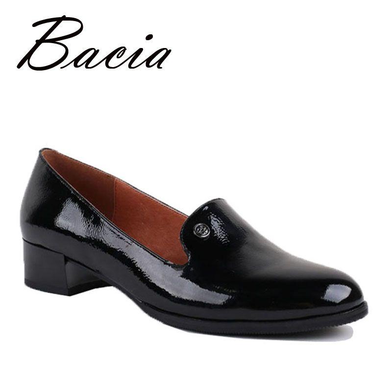 Bacia Shoes Genuine Leather Flat shoes Round Toe Slip-on Casual Handmade Women Shoes Flexible Soft Black Unisex Flat New VB008