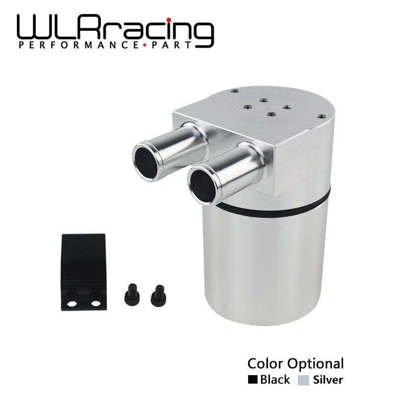 WLR RACING - UNIVERSAL Aluminum Alloy Reservior Oil Catch Can Tank for BMW N54 335 BLACK & SILVER WLR-TK60