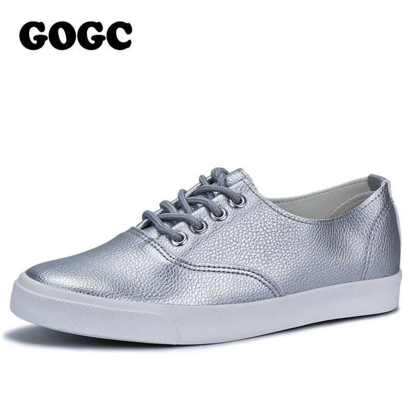 Gogc 2017 plana Zapatos mujeres respirables sneakers calzado de alta calidad plata negro blanco mujeres casual Zapatos slipony