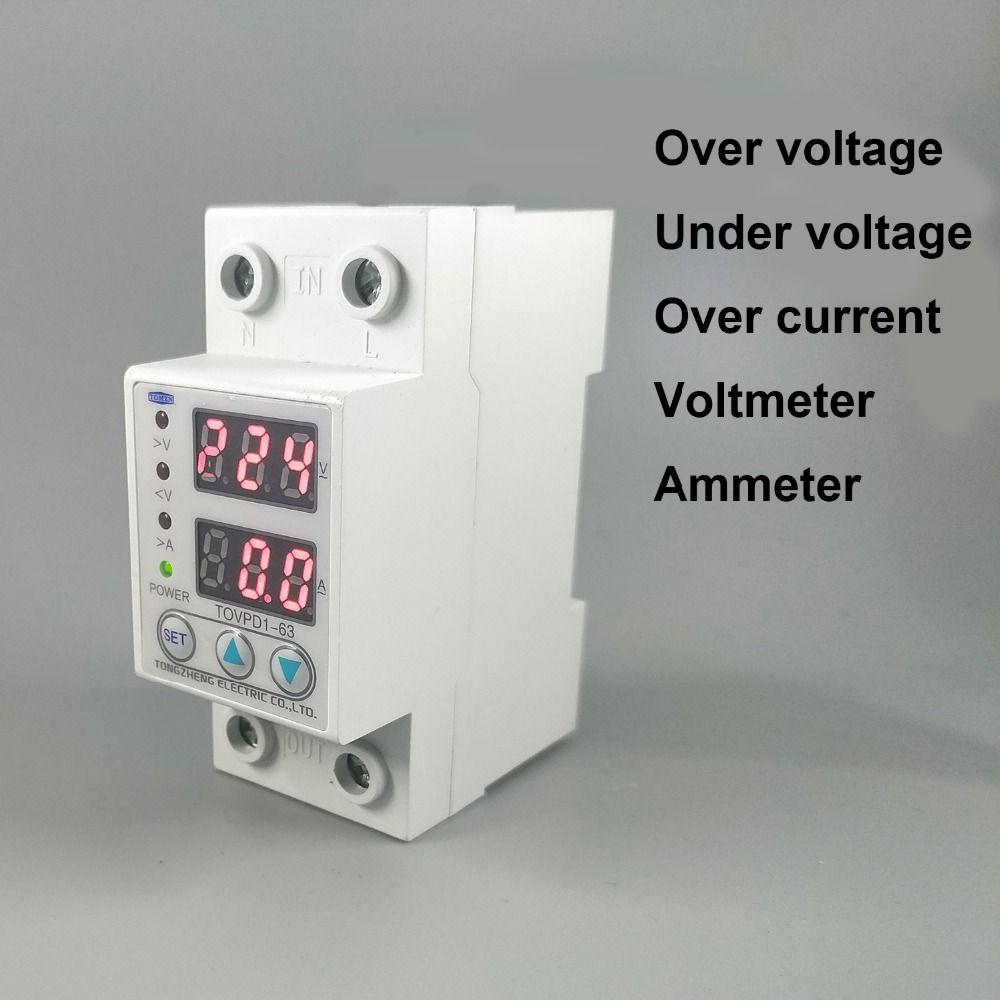 63A 230 v Din schiene einstellbare über und unter spannung schutz gerät protector relais mit über aktuelle schutz Voltmeter