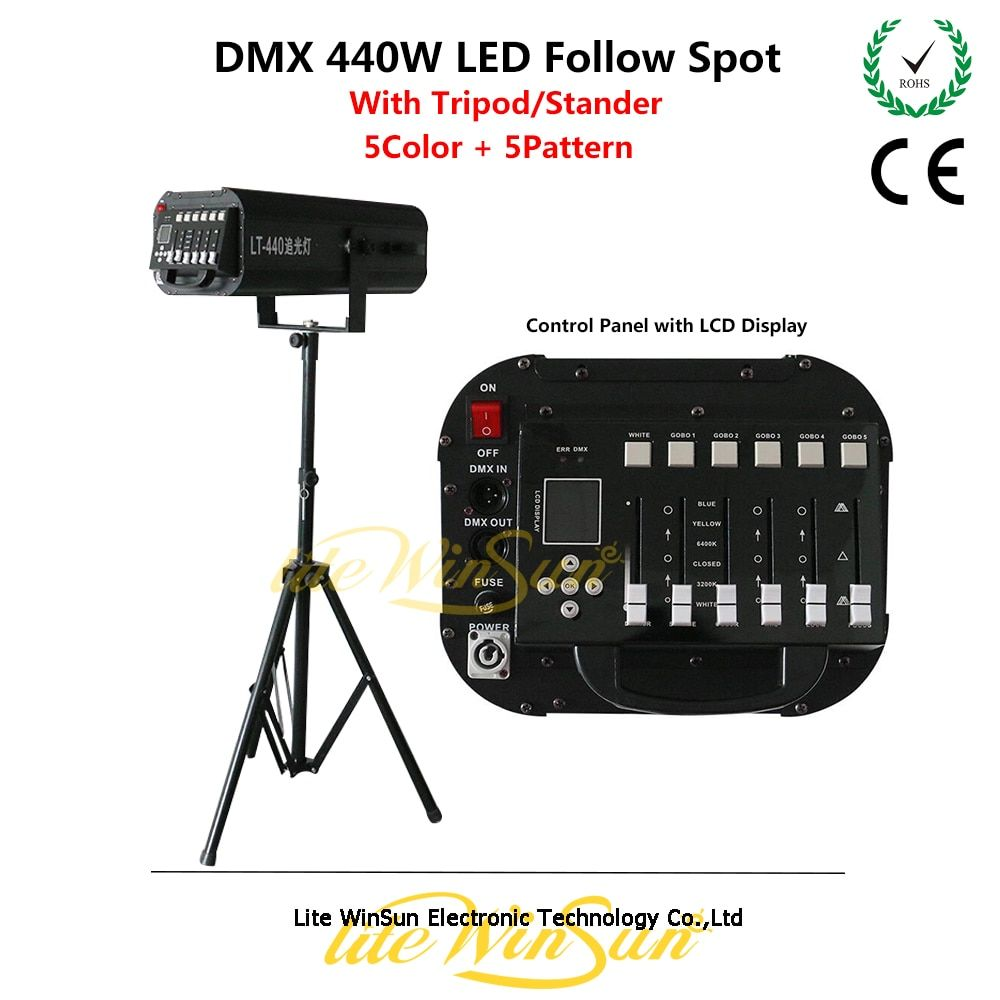 Litewinsune 2018 New DMX512 Follow Spot Lighting Performace Followspot LED 440W High Power with Tripod