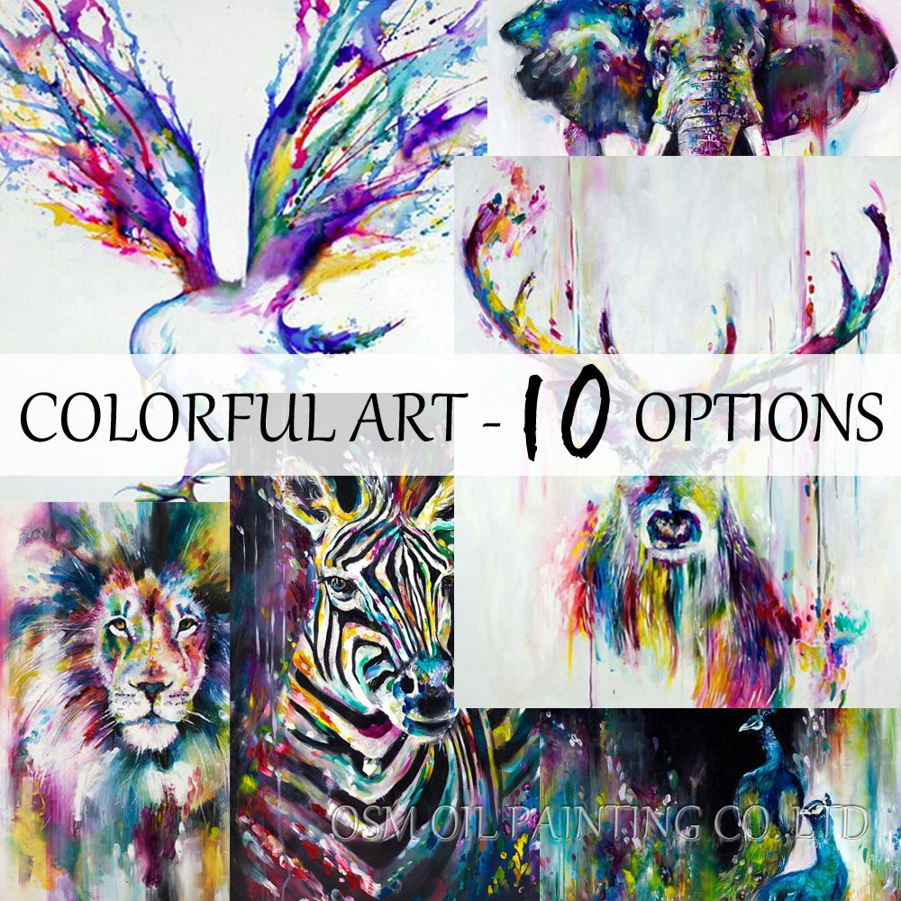 La meilleure Vente Articles Faits À La Main Coloré Abstrait Peintures Animaux Peinture À L'huile Cerf Peinture À L'huile Toile Mur Décor Home Decor Art