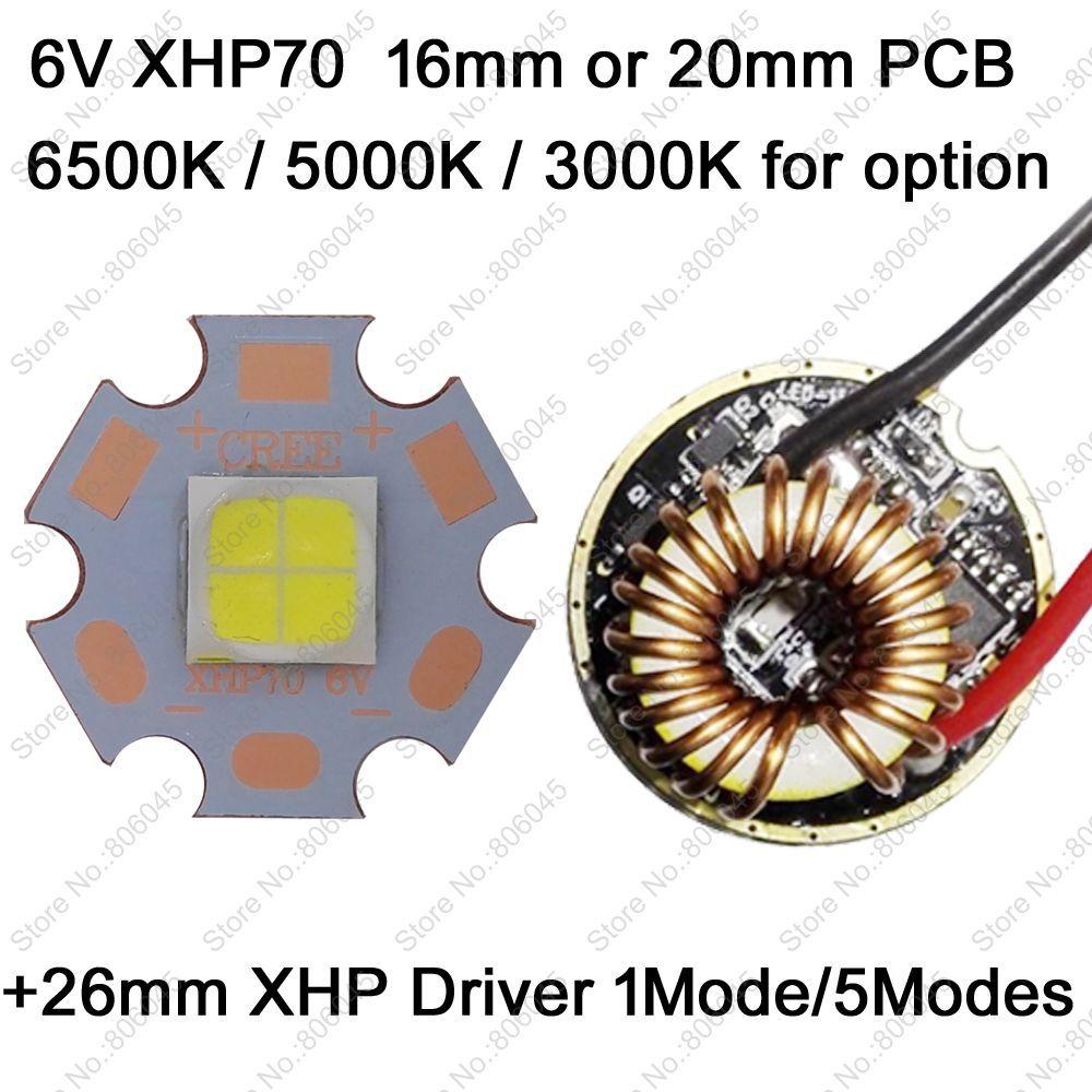 Cree XHP70 6 V 6500 K blanco fresco, 4500 K blanco neutro, 3000 K blanco cálido LED de alta potencia emisor + 26mm 1 modo o 5 modos driver