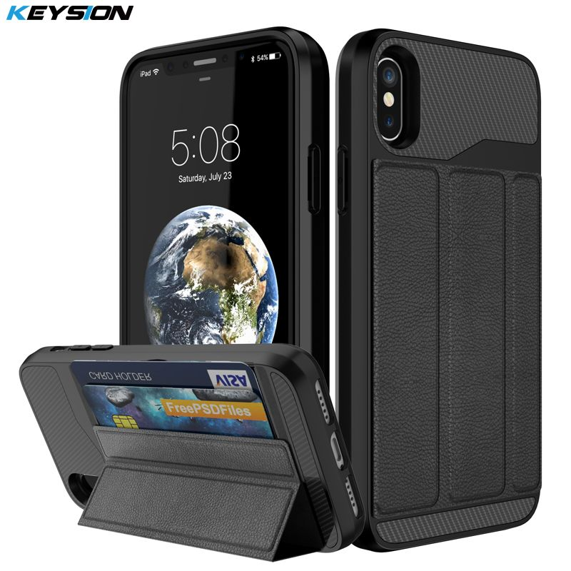 KEYSION Phone Case for iPhone X Luxury PU leather and PC and TPU Kickstand Anti-knock Back cover for iPhone 10 With Card Pocket