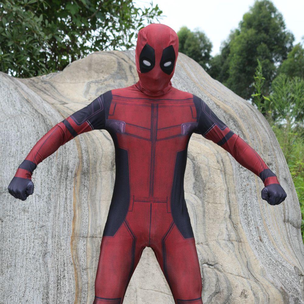 Deadpool Costume avec Masque Spandex Deadpool Cosplay Costume de Super Héros Halloween Zentai Costumes
