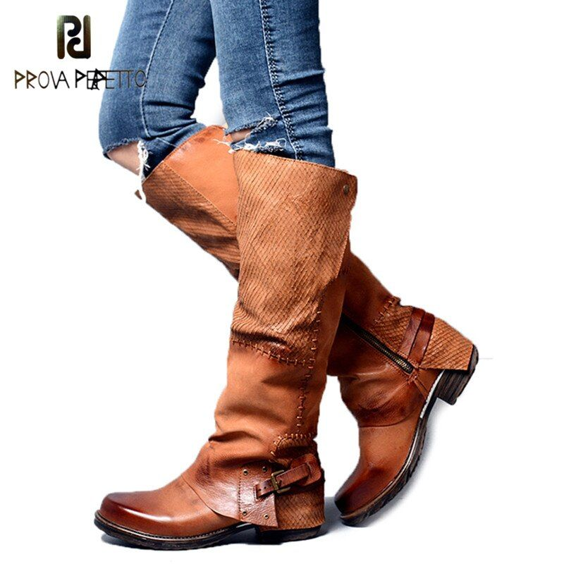 Prova Perfetto Winter Back Belt Buckle Strap Zipper Side Knee High Boots Real Leather Patchwork Square Toe Women Low Heel Boots