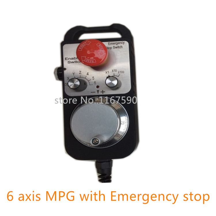 Free shipping Pendant Handwheel with Emergency Stop,6 axis manual pulse generator MPG for Siemens, MITSUBISHI, FANUC