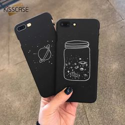 KISSCASE Planète Cas Pour iPhone 7 7 Plus 8 Plus Mignon de Bande Dessinée Noir Dur PC Cas de Téléphone Pour iPhone 6 6 s Plus X 10 5 5S SE Coque