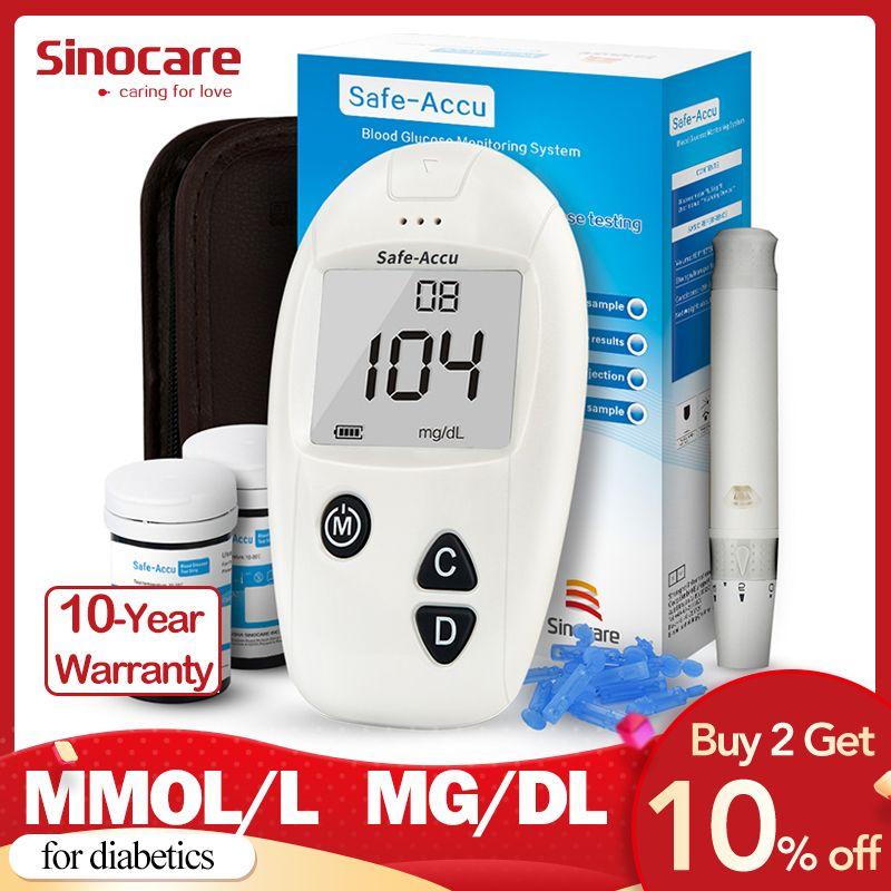 Sinocare Safe-Accu CE Blood Glucose Meter Glucometer Kit Diabetes Tester 50/100 Test Strips Lancets Medical Blood Sugar Meter
