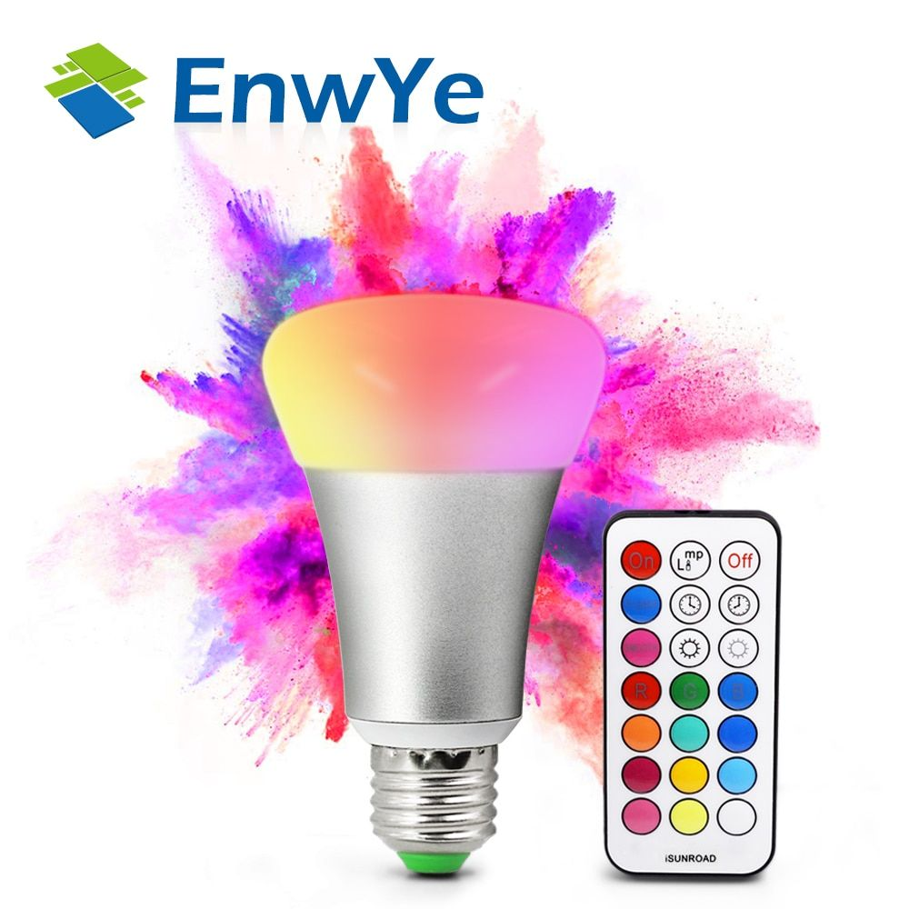 EnwYe Brightness 10W RGB E27 LED Bulb Light Stage Lamp 12Colors with Remote Control Led Lights for Home AC85-265V RGBW/RGBWW