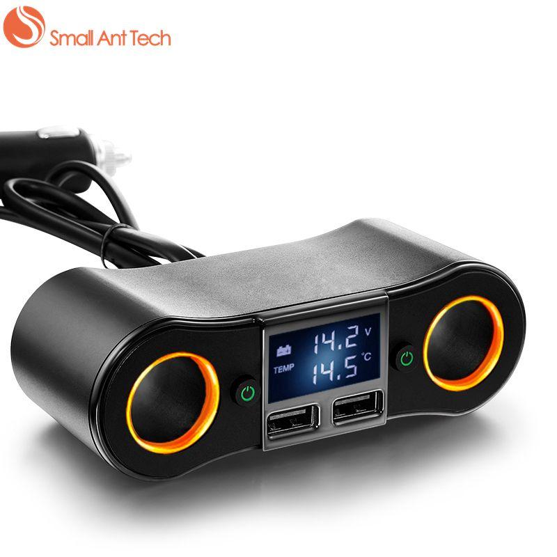Smallantteach Dual USB Порты и разъёмы автомобиля Адаптеры питания Зарядное устройство volmeter с 2 Авто-прикуриватели розетки 80 Вт Max 2.5a Выход LED Дисплей