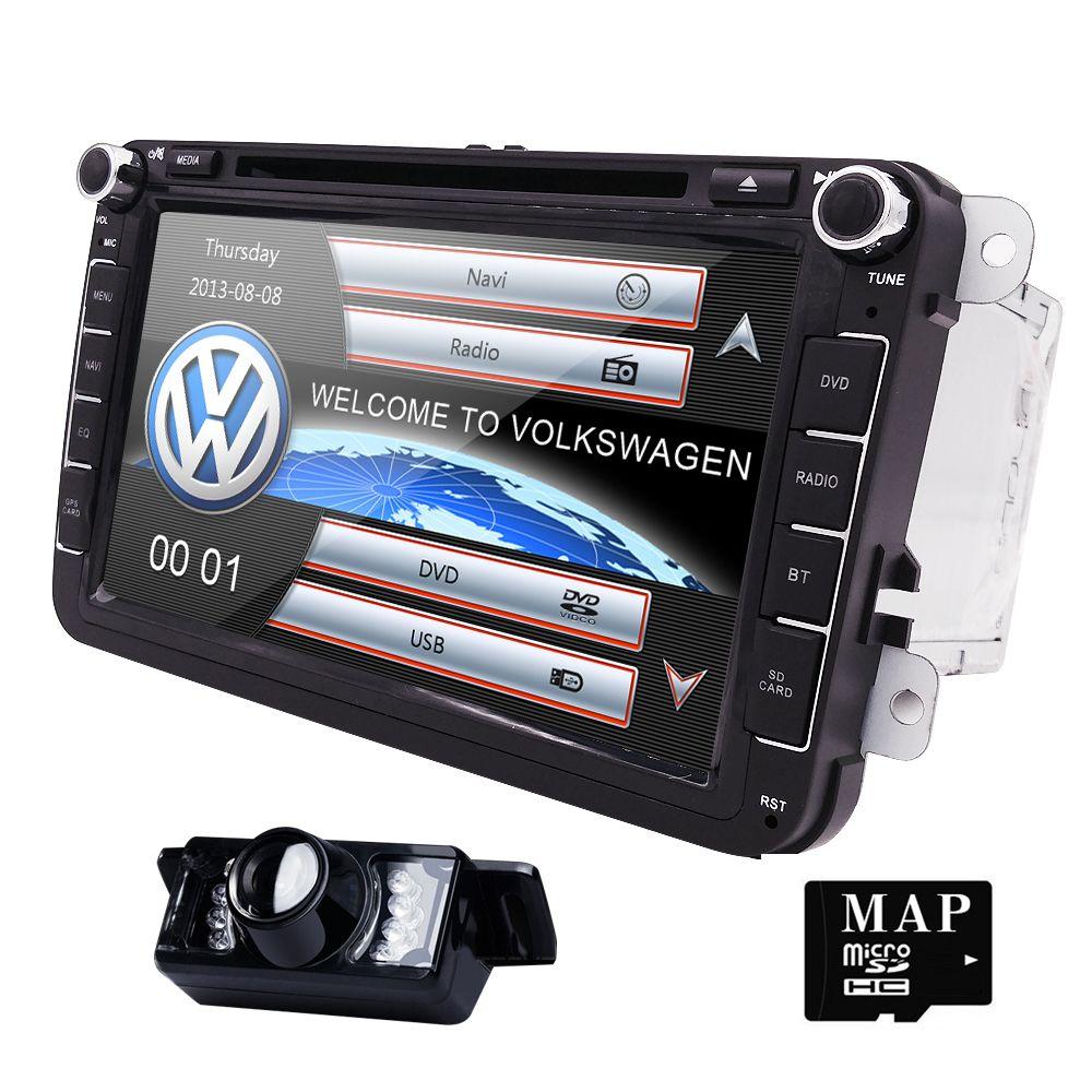 2din 8inch Car DVD GPS player For Volkswagen VW Golf Jetta TOURAN TIGUAN Passat Skoda with Radio,BT,SWC,GPS, free map and camera