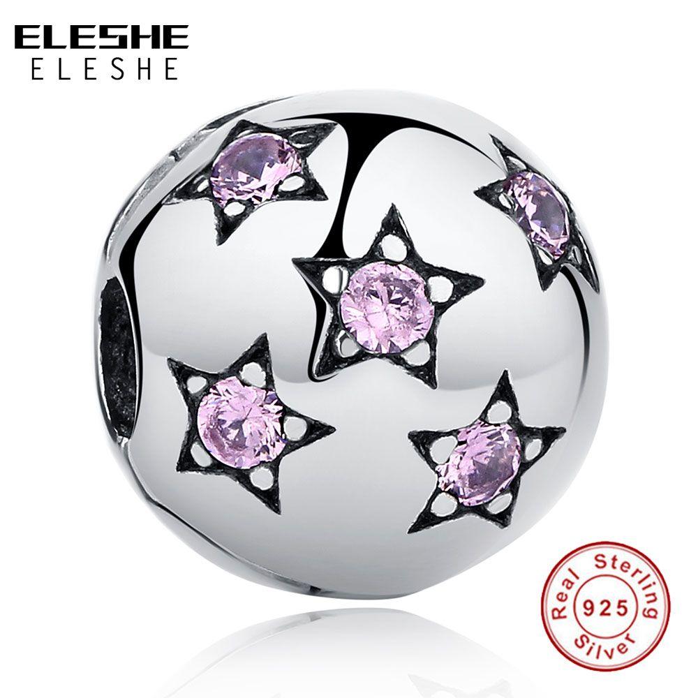 ELESHE Real 925 Plata Pura Espumosos Rosa ESTADÍSTICAS Clip Grano Del Encanto Fit Original ELESHE Pulsera DIY Joyas Auténticas