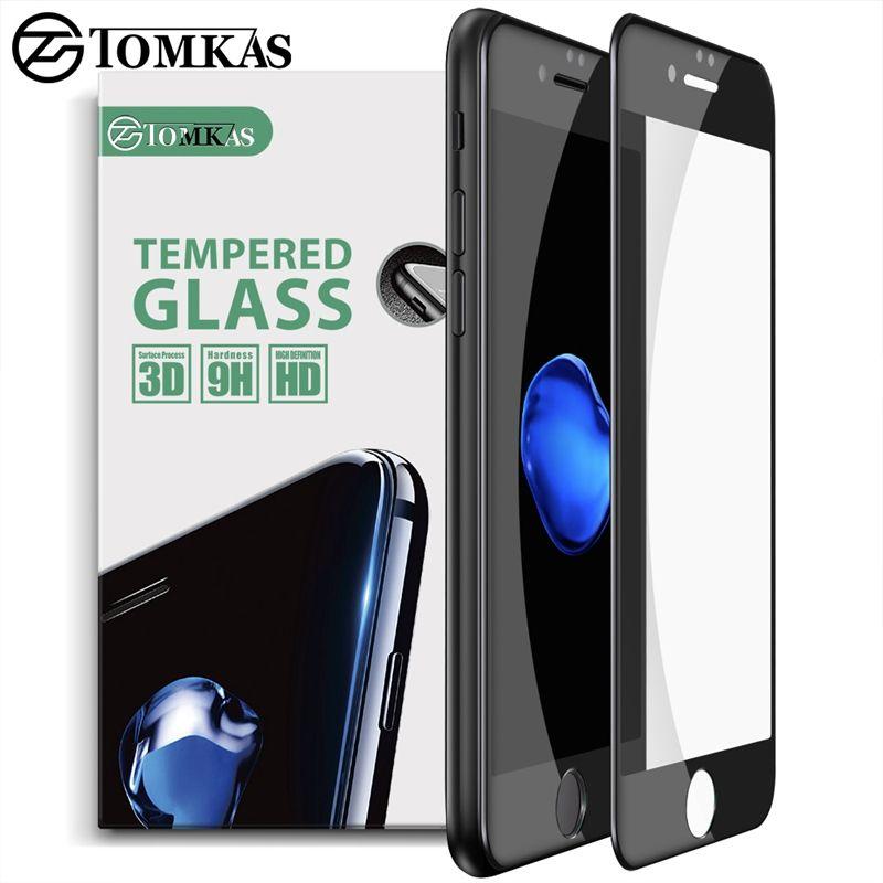 TOMKAS 3D Écran En Verre Trempé Pour iPhone 7 7 Plus protecteur Ultra-mince 0.2mm Anti-rayures Film Pour iPhone 7 Trempé verre