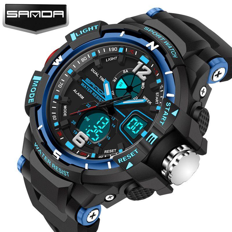 New fashion SANDA brand children watch sports watch LED digital quartz watch boy girl student multi-function watch