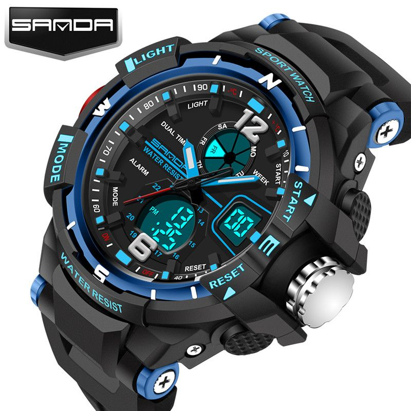 Nouveau mode SANDA marque enfants montre de sport montre LED numérique quartz montre garçon fille étudiants multi-fonction montre